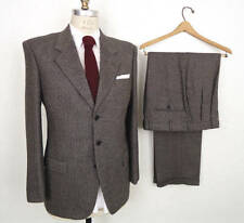 Vintage Wool Tweed Suits 3Pcs Khaki Herringbone Men's Suit 40 42 44 46 + Custom