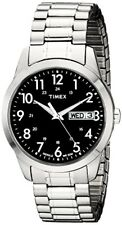 Timex Mens South Street Sport Black/Silver-Tone Stainless Steel Expansion Band