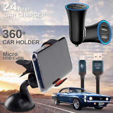 Car Charger, MicroUSB Cable, Car Windshield 360°Phone Holder Bandle for Motorola