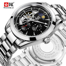 Top Luxury Mens Automatic Mechanical Tourbillon Sun Moon Phase Steel Band Watch