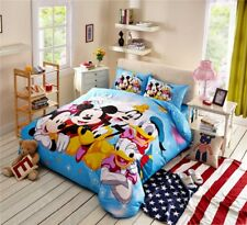 Mickey Minnie Mouse Donald Duck Goofy Bedding Set Single Twin Queen Size Blue