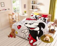 Mickey Mouse Print Flannel Comforter Bedding Sets Single Twin Full Queen Size