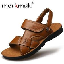 Merkmak Summer Men Sandals Slippers Two-in-one Shoes Casual Fashion Genuine Leat