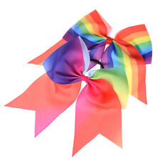 "8"" Cheerleader Large Rainbow Sweet Girl Cheer Bow Hair Accessory Elastic Band、AU"