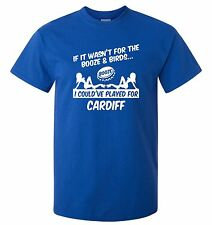 CARDIFF CITY FANS THEMED BOOZE AND BIRDS T-SHIRT