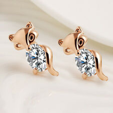 Classic Crystal Earring Plated Silver Gold Alloy Animal Fox Stud Earrings