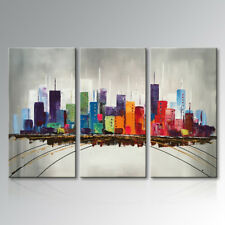 Hand Painted Modern Abstract Oil Painting Canvas Wall Art Cityscape Artwork City