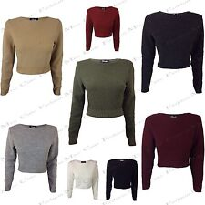WOMENS CROPPED JUMPER LADIES LONG SLEEVE STRETCH CASUAL RIBBED KNITTED CROP TOP