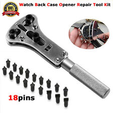 Watch Repair Tool Kit Watchmaker Back Case Opener Wrench Screw Link Pin Remover