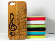Treble Clef Case for iPhone 5C Bamboo Wood Cover Music Notes Musician Band Jazz