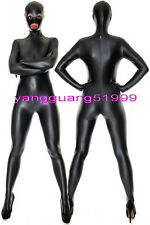 Black Shiny Metallic Suit Catsuit Costumes Unisex With Open Eyes & Mouth F060