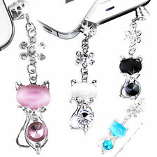 Jack Cat Crystal Dust Plug 3.5mm Anti Earphone Cap Stopper For iPhone Samsung