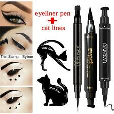 Chic 1Pcs Dual-ended Liquid Eyeliner Pen with Seal+2Pcs Cat Eyebrow Template HK