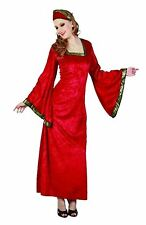 Women Noble Lady Adult Costume Ladies Medieval Red Dress Fancy Fairy Tale Outfit