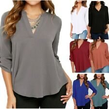 Women V-Neck 3/4 Sleeve Tops Blouses Chiffon Shirt Plus Size S-5XL