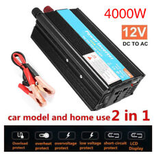 4000W Peak Power Inverter DC 12V to 110/220V AC Car Inverter Dual USB Adapter