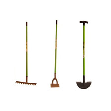 Redwood Garden Tools in Carbon Steel - Garden Rake, Dutch Hoe and Lawn