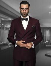 NEW Burgundy Men's Suit 3 Pcs Tuxedos 2 Button Slim Fit 40 42 44 46 + Custom