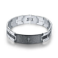 Fashion Mens Stainless Steel Black Silver Cross with Bible Verses Bracelet Gift