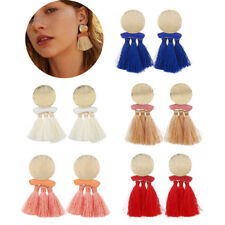 Bohemian Wedding Earrings Long Wool Tassel Dangle Round Circle Drop Ear Stud