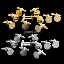 10pcs Copper Metal Gold Silver Tone Cufflinks Cuff Link Backs Blanks Finding