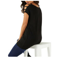 Womens Long Style Loose Casual Cold Shoulder Short Sleeve T Shirt Cut Out Tops