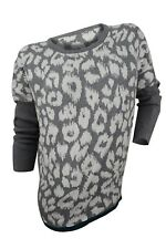 Romeo & Juliet Couture $130 NWT Grey Ivory Cheetah Combo Sweater Women