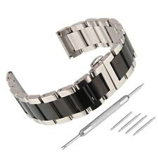 New Stainless Steel Sliver/Black Watch Band Polished Deployant Clasp Strap Kits