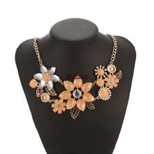 Women Fashion Crystal Rhinestone Flower Pendent Necklace Link Chain ES88