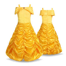Girl Kid Princess Belle Dress Up Costume Baby Birthday Cosplay Party Long Dress
