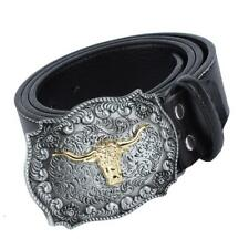Western Cowboy Leather Rodeo Bull Head Belt Buckle American Motorcyclist