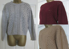NEW EX M&S Ladies Cable Knitted Knit Jumper Top Button Back Camel Grey Size 6-24