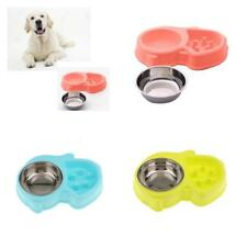 Healthy Pet Feeder Bowl Cat Dog Slow Eating Food Water Dish 2 in 1 Pet Food Bowl