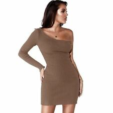 Women Off One Shoulder Long Sleeve Backless Party Wear Mini Dress