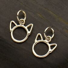 925 Sterling Silver Cat Charm Cute Kitten Head with Ears Necklace Kitty 3212
