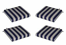 Set of 4 - Indoor / Outdoor Navy Blue Ivory Stripe Chair Cushions - Choose Size