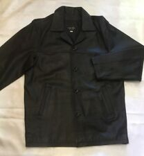 Mens Black Leather Jacket button front 3/4 length leather jacket in black SIZE S