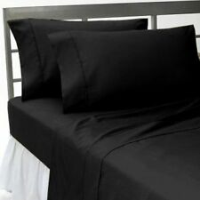 Extra Wall 1 pc Bed Skirt/Valance Black Solid 1000TC Egyptian Cotton Select Size