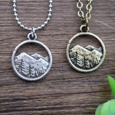 Lovely Mountain Landscape Nature Tree Circle Jewelry Necklace Pendant Chain Gift