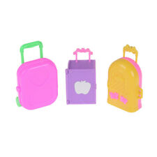 Cute Plastic Rolling Suitcase Luggage Box for Barbie Doll Travel Accessories、New
