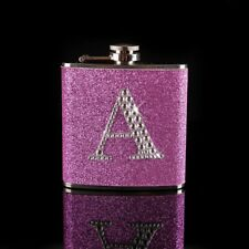 Stainless Steel Hip Alcohol Flask Bottle Personalized Glitter With Rhinestones