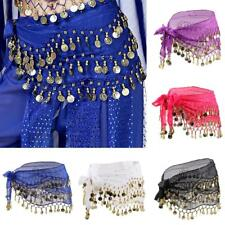 WOMENS LADIES 3 ROWS BELLY DANCE HIP SCARF WRAP BELT DANCER SKIRT COSTUME COINS