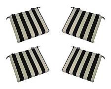 Set of 4 - Indoor / Outdoor Black White Stripe Chair Cushions - Choose Size