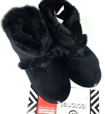 ISOTONER Women's Bootie Style Slipper Faux Fur -Enhanced Heel Cushion- Black