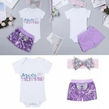 Newborn Baby Girls Sequins Outfit Romper+Shorts Bodysuit Sequin Kids Colthes Set