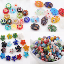 20Pcs Mixed Oval Star Millefiori Glass Spacer Loose Beads Jewelry Findings Craft
