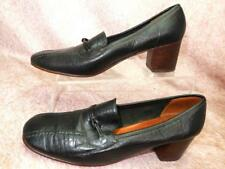 Vintage Womens size 8C Piccolino Black Leather Bicycle Toed Low Heeled Pumps