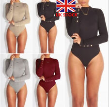 Women Long Sleeve High Neck Bodysuit Jumpsuit Romper Ladies Stretch Leotard Tops
