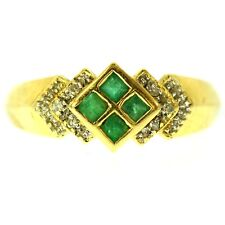 EMERALD & DIAMOND RING 14K YELLOW GOLD FINE NATURAL GREEN EMERALD CUT SIZE 7.5