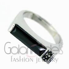 A1556 SIMULATED BLACK DIAMOND 925 STERLING SILVER 14K WHITE GOLD PLATED RING